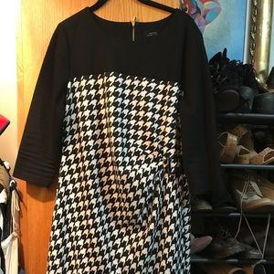 Houndstooth black-and-white dress